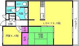 兵庫県加古川市平岡町山之上の賃貸マンションの間取り