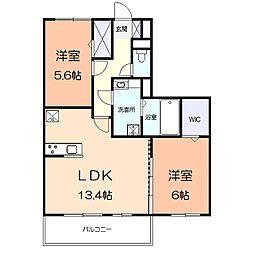 アメニティー多摩区枡形1丁目アパート 3階2LDKの間取り