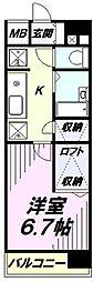 多摩都市モノレール 万願寺駅 徒歩2分の賃貸マンション 3階1Kの間取り