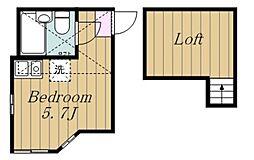 ユナイト中野島アルバトロス 1階ワンルームの間取り