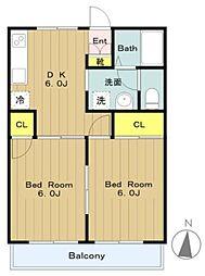 東京都多摩市連光寺6の賃貸アパートの間取り
