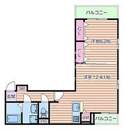 阪急千里線 千里山駅 徒歩17分の賃貸アパート 3階1LDKの間取り