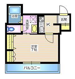 京急本線 上大岡駅 徒歩8分の賃貸マンション 1階1Kの間取り