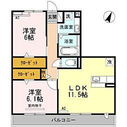 愛知県豊橋市西幸町字笠松の賃貸アパートの間取り