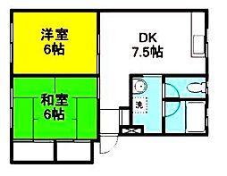 神奈川県横浜市青葉区田奈町の賃貸アパートの間取り