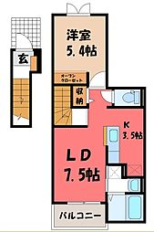 栃木県宇都宮市南町の賃貸アパートの間取り