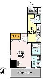東武伊勢崎線 越谷駅 徒歩5分の賃貸マンション 6階1Kの間取り