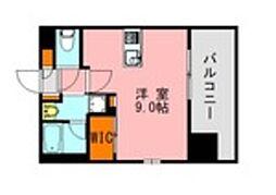 JR鹿児島本線 博多駅 徒歩21分の賃貸マンション 9階ワンルームの間取り