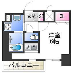 スプランディッド難波元町DUE 9階ワンルームの間取り