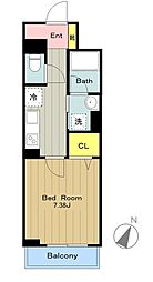 JR南武線 中野島駅 徒歩12分の賃貸マンション 2階1Kの間取り