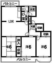 徳島県徳島市末広2丁目の賃貸マンションの間取り