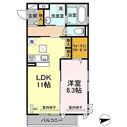 仮)D−room宿河原[106号室]の間取り
