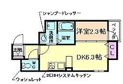 ONLYONE川西駅前 2階1DKの間取り