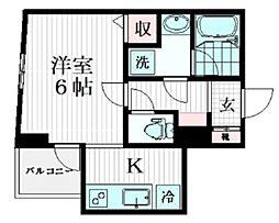 目黒区中央町YKマンション 2階1Kの間取り