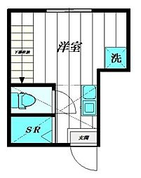 PROBANK西尾久 B棟 1階ワンルームの間取り