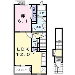 南海高野線 金剛駅 徒歩27分の賃貸アパート 2階1LDKの間取り