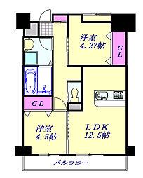 JR京浜東北・根岸線 大宮駅 徒歩20分の賃貸マンション 2階2LDKの間取り