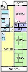 プロスベール北野田[3階]の間取り