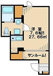 京王相模原線 京王堀之内駅 徒歩14分の賃貸アパート 1階1Kの間取り