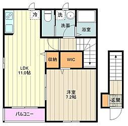 仮)杉並区善福寺計画 2階1LDKの間取り