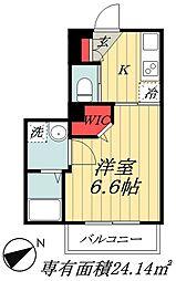 JR総武線 本八幡駅 徒歩10分の賃貸マンション 1階1Kの間取り
