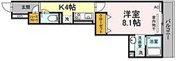 JR横浜線 中山駅 徒歩9分の賃貸アパート 2階1Kの間取り