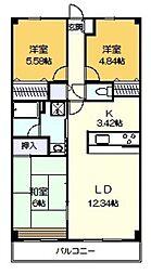 バードタウン7番館[3階]の間取り