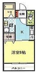 八川ビル 2階1Kの間取り