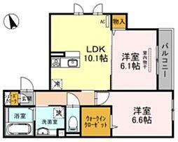 仮称)D-room墨江1丁目 2階2LDKの間取り