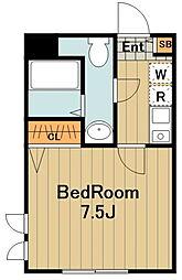 JR横浜線 橋本駅 徒歩7分の賃貸アパート 2階1Kの間取り
