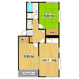 東京都江戸川区大杉3丁目の賃貸アパートの間取り