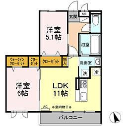 京王相模原線 南大沢駅 徒歩15分の賃貸アパート 2階1LDKの間取り