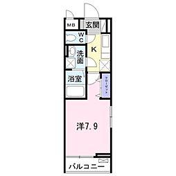 京王相模原線 京王堀之内駅 徒歩10分の賃貸アパート 3階1Kの間取り