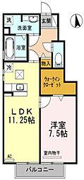 愛知県岡崎市上地町字西田丁目の賃貸アパートの間取り