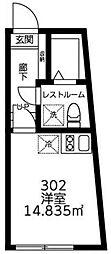 Sora渋谷 3階ワンルームの間取り