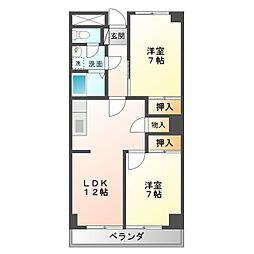 愛知県豊橋市下地町字横山の賃貸マンションの間取り