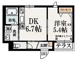 香風 B 1階1DKの間取り