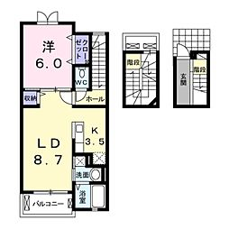 愛知県豊橋市花田町字越水の賃貸アパートの間取り