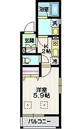 京急本線 大森町駅 徒歩5分の賃貸マンション 3階1Kの間取り