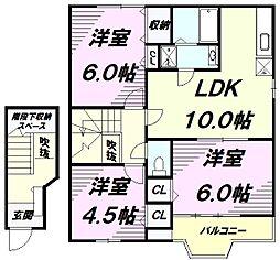 JR青梅線 福生駅 バス10分 草花下車 徒歩8分の賃貸アパート 2階3LDKの間取り