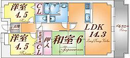 兵庫県神戸市須磨区高倉町1丁目の賃貸マンションの間取り