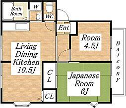 サンライフ中村[2階]の間取り