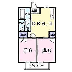 岡山県倉敷市中畝8丁目の賃貸アパートの間取り