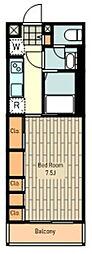 リブリ・海 3階1Kの間取り