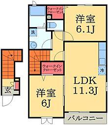 千葉県千葉市緑区富岡町の賃貸アパートの間取り