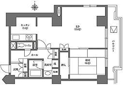 文京グリーンコート ビュータワー本駒込 2階1LDKの間取り