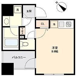 ユニデン八丁堀レジデンス 4階ワンルームの間取り