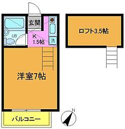 千葉県市川市福栄3丁目の賃貸アパートの間取り