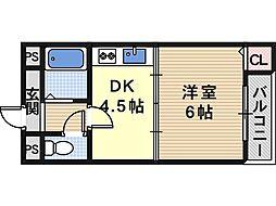 大阪府大阪市東住吉区照ケ丘矢田1丁目の賃貸マンションの間取り