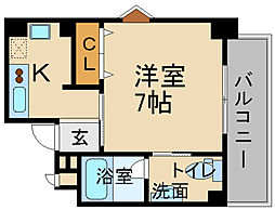 阪急今津線 宝塚南口駅 徒歩5分の賃貸マンション 3階1Kの間取り